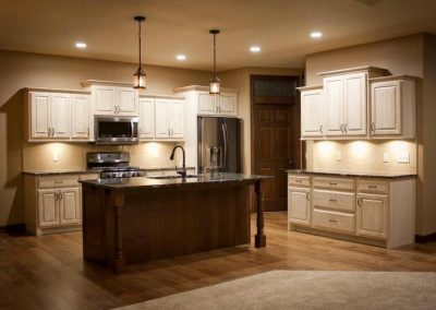 Cabinets are Alabaster with Vdb Glaze. Island Is Rustic Cherry Blaze.